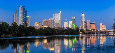 austin: Beautiful Austin skyline reflection at twilight, Texas