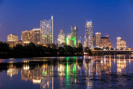 night skyline: Beautiful Austin skyline reflection at twilight, Texas