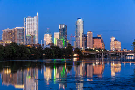 skyline: Beautiful Austin skyline reflection at twilight, Texas