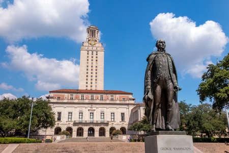 ut: University of Texas (UT) against blue sky in Austin, Texas
