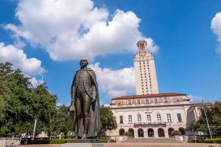 austin: University of Texas (UT) against blue sky in Austin, Texas