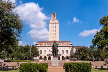 university building: University of Texas (UT) against blue sky in Austin, Texas