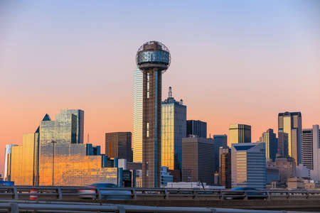 downtown: Dallas City skyline at twilight, Texas