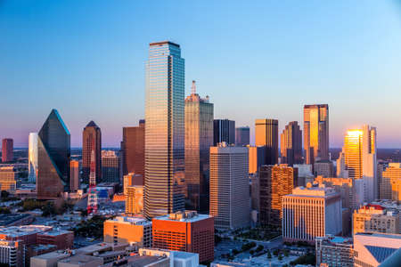 Dallas, Texas cityscape with blue sky at sunset, Texas 版權商用圖片
