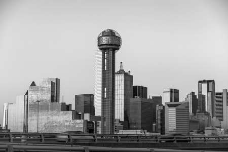 twilight: Dallas City skyline at twilight, Texas in black and white Stock Photo