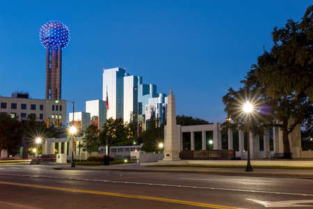 grassy knoll: The Dealy Plaza and its surrounding buildings in Downtown Dallas Stock Photo