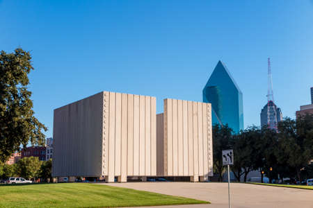fitzgerald: DALLAS, TEXAS-SEPTEMBER 25: John Fitzgerald Kennedy Memorial in downtown Dallas on September 25. 2014. This simple, concrete memorial to President Kennedy dominates a square in downtown Dallas near where the President was assassinated.