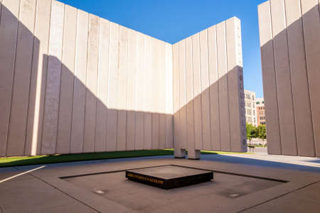 Kennedy: DALLAS, TEXAS-SEPTEMBER 25: John Fitzgerald Kennedy Memorial in downtown Dallas on September 25. 2014. This simple, concrete memorial to President Kennedy dominates a square in downtown Dallas near where the President was assassinated.