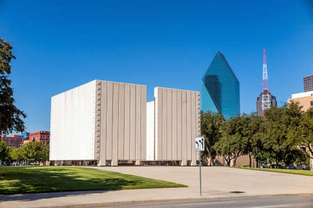 DALLAS, TEXAS-SEPTEMBER 25: John Fitzgerald Kennedy Memorial in downtown Dallas on September 25. 2014. This simple, concrete memorial to President Kennedy dominates a square in downtown Dallas near where the President was assassinated.