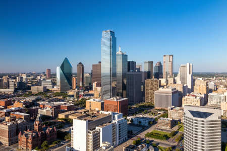 Dallas, Texas cityscape with blue sky at sunset, Texas Stock Photo