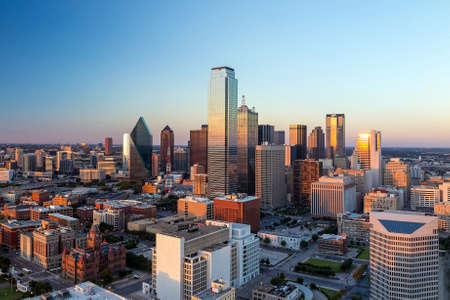 dallas: Dallas, Texas cityscape with blue sky at sunset, Texas Stock Photo