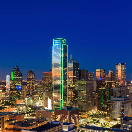 mirrored: Dallas, Texas cityscape with blue sky at sunset, Texas Stock Photo