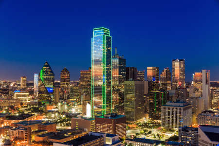 downtown: Dallas, Texas cityscape with blue sky at sunset, Texas Stock Photo