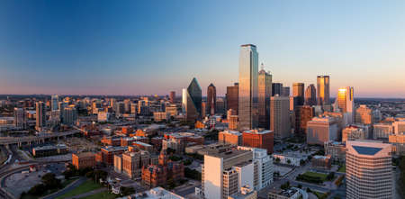 skyline: Dallas, Texas cityscape with blue sky at sunset, Texas Stock Photo