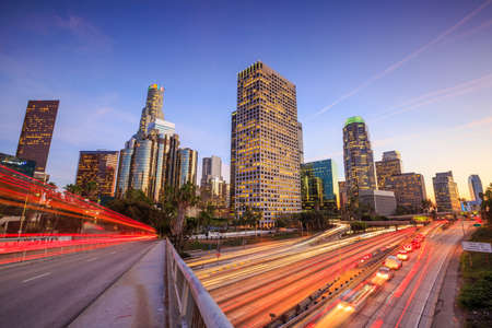 downtown: Downtown Los Angeles skyline during rush hour at sunset Stock Photo