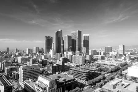 high view: Downtown LA Los Angeles skyline cityscape California in black and white