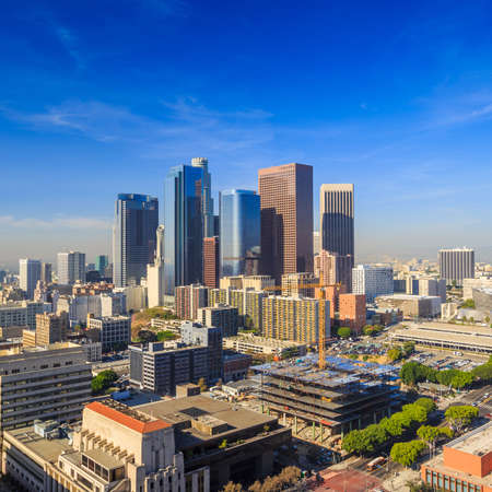 high view: Downtown LA Los Angeles skyline cityscape California