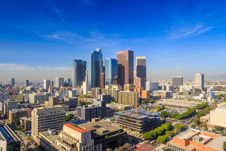 high rise buildings: Downtown LA Los Angeles skyline cityscape California