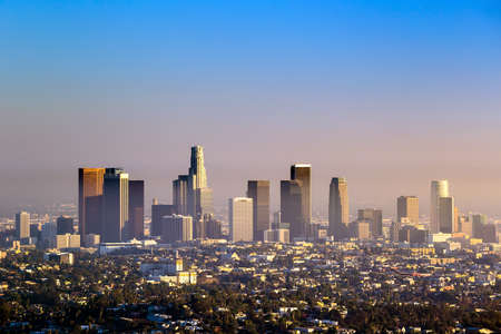 Downtown Los Angeles skyline at twilight CA. Banco de Imagens