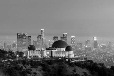 griffith: The Griffith Observatory and Los Angeles city skyline at twilight black and white Editorial