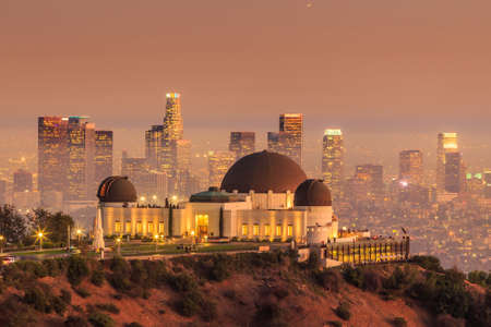 angeles: The Griffith Observatory and Los Angeles city skyline at twilight CA Editorial