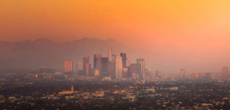 skyline at sunrise: Downtown Los Angeles skyline at twilight CA. Stock Photo