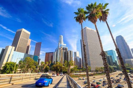 Los Angeles, California, USA downtown cityscape with blue sky.