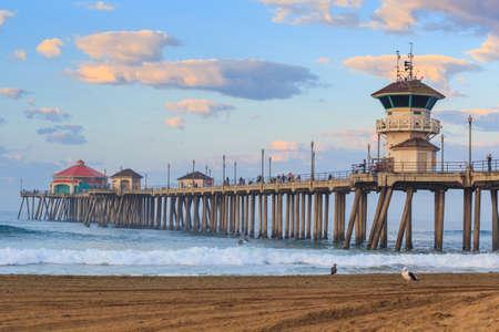 The Huntington Beach pier at sunrise, CA Stock Photo