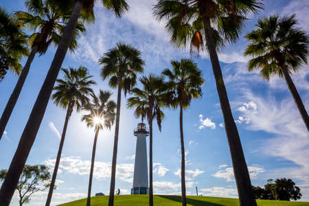 ports: Lighthouse with palms at Long Beach, California, USA