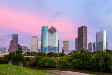 Houston, Texas  skyline at sunset twilight from park lawn Stock Photo - 37317252