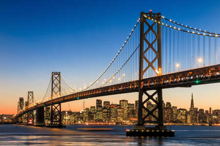 San Francisco skyline and Bay Bridge at sunset, California USA Stok Fotoğraf - 38929735