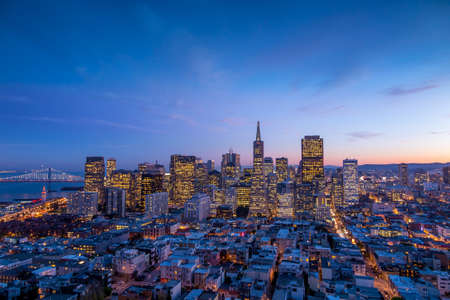 Beautiful view of  business center in downtown San Francisco at sunset.