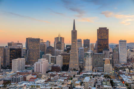 skyline at sunrise: Beautiful view of  business center in downtown San Francisco at sunset.