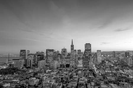 Beautiful view of  business center in downtown San Francisco in black and white photo