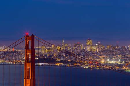 Golden Gate Bridge and downtown San Francisco, USA Stock Photo