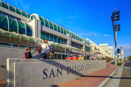 SAN DIEGO, USA - SEPTEMBER 28, 2014: San Diego Convention Center on September 28, 2014 It is located in the Marina district of downtown San Diego near the Gaslamp Quarter. Редакционное