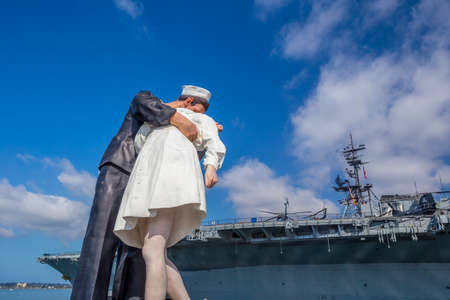 vj: SAN DIEGO, USA - SEP 28, 2014: Unconditional Surrender sculpture at sea port on September 28, 2014 in San Diego. The statue resembles the photograph of V-J day in Times Square Editorial