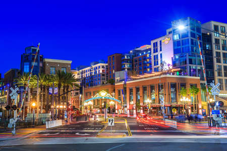 san diego: SAN DIEGO-SEP 28, 2014: The Gaslamp Quarter in San Diego, California, on September 28, 2014 The Gaslamp Quarter extends from Broadway to Harbor Drive, and from 4th to 6th Avenue.