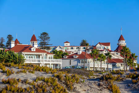 monroe: SAN DIEGO, USA - SEP 28, 2014:  Victorian Hotel del Coronado on September 28, 2014 in San Diego, USA. In the hotel was filmed famous comedy Some like it hot, which starred Marilyn Monroe.
