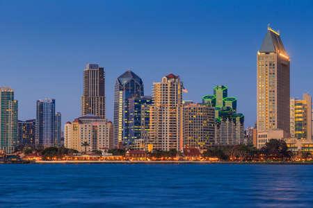 inlet bay: Skyline of San Diego, California from Coronado Bay, USA
