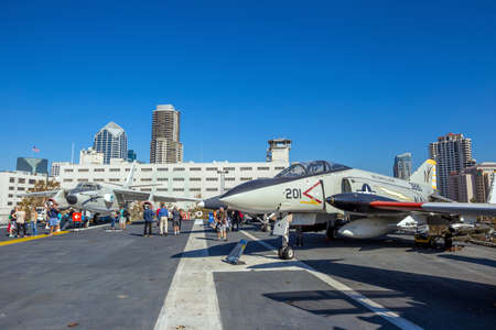 aircraft carrier: SAN DIEGO-SEP 28, 2014:The historic aircraft carrier, USS Midway now a museum docked in Downtown San Diego, on September 28, 2014 Editorial