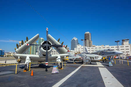 starboard: SAN DIEGO-SEP 28, 2014:The historic aircraft carrier, USS Midway now a museum docked in Downtown San Diego, on September 28, 2014 Editorial