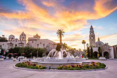San Diegos Balboa Park at twilight in San Diego California USA Stock Photo