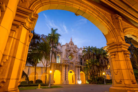 diego: San Diegos Balboa Park at twilight in San Diego California USA Stock Photo