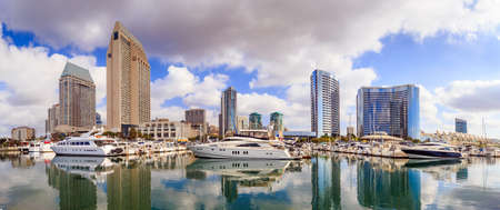 marina: Panorama City View with Marina Bay at San Diego, California USA Editorial