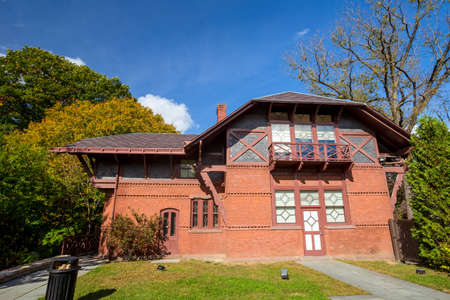 samuel: Hartford, CT- OCTOBER 15: The Mark Twain House and Museum on October 15, 2014. It was the home of Samuel Langhorne Clemens (a.k.a. Mark Twain) from 1874 to 1891 in Hartford, Connecticut. Editorial