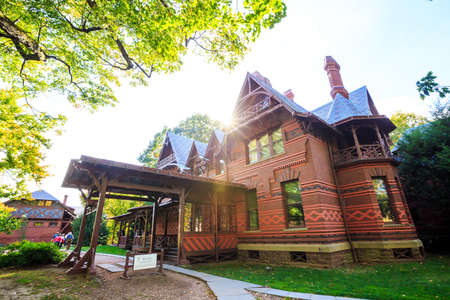 twain: Hartford, CT- OCTOBER 15: The Mark Twain House and Museum on October 15, 2014. It was the home of Samuel Langhorne Clemens (a.k.a. Mark Twain) from 1874 to 1891 in Hartford, Connecticut. Editorial
