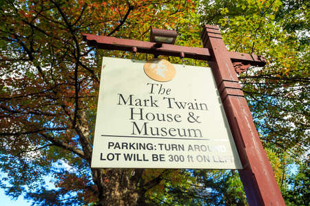 hartford: Hartford, CT- OCTOBER 15: The Mark Twain House and Museum on October 15, 2014. It was the home of Samuel Langhorne Clemens (a.k.a. Mark Twain) from 1874 to 1891 in Hartford, Connecticut. Editorial
