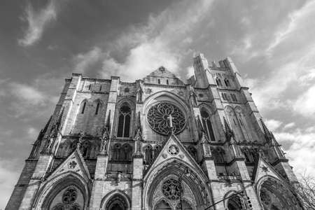 episcopal: Cathedral of St. John the Divine, head church of Episcopal Diocese of New York black and white