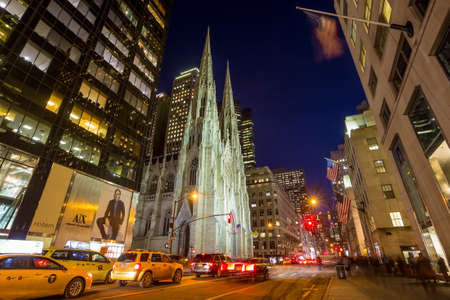 boroughs: NEW YORK CITY - FEB 11: St. Patricks Cathedral in New York City on February 11, 2015  One of the 5 boroughs of New York City, the smallest but also the most populated. Editorial